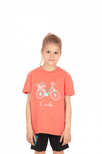 CUBE JUNIOR Organic T-Shirt Floral Bike